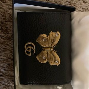 Gucci Small Black Leather Butterfly Wallet